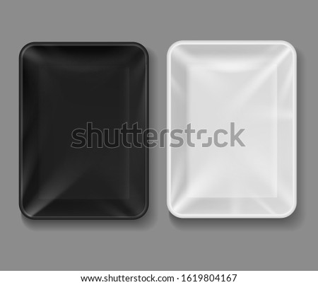 Plastic tray. Food package with wrap, black and white empty containers for vegetables, meat. Vacuum boxes 3d mockup of packaging top