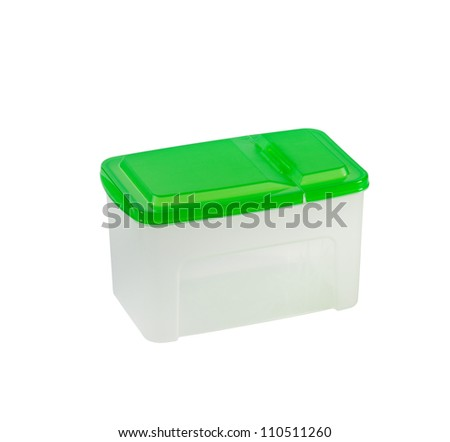 Plastic tray with green lid