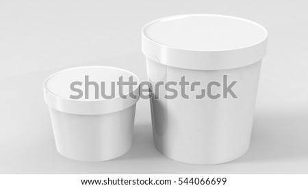 Plastic Tub Bucket Container For Dessert, Yogurt, Ice Cream, Sour Sream Or Snack. White Food Ready For Your Design. Product Packing Vector EPS10 #544066699