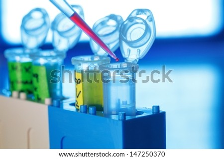 Plastic tubes and pipette