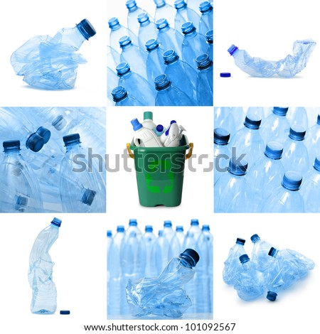 plastic waste recyclable collection, isolated on white