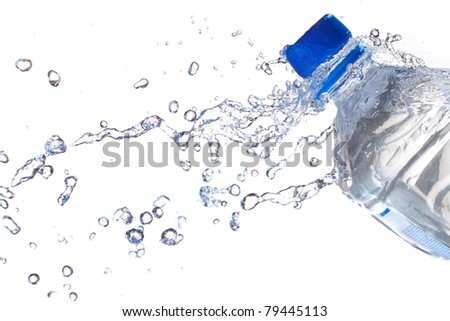 Plastic Water Bottles with water splashing