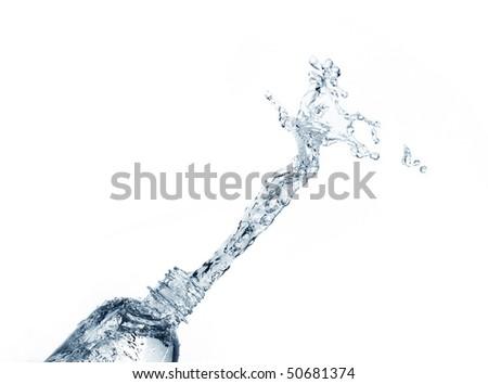 Plastic Water Bottles with water splashing .blue tone