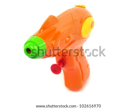 plastic water gun on a white background