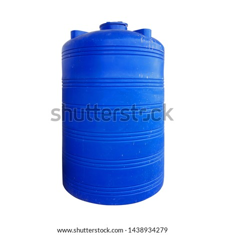 Plastic Water Tank isolated on white background with clipping path stock photo