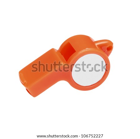 plastic whistle isolated on white background