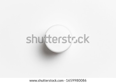Plastic White Pill or vitamin dietary supplement Bottle, Medical drug plastic bottle isolated on white background with clipping path.High resolution photo.Top view Stockfoto ©