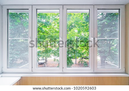 Plastic window and beutiful landscape
