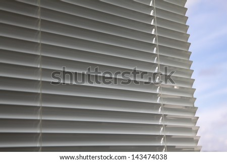 Plastic window blinds in the office