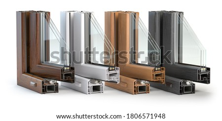 Plastic window profiles PVC of different colors in section  isolated on white background. 3d illustration Stock photo ©