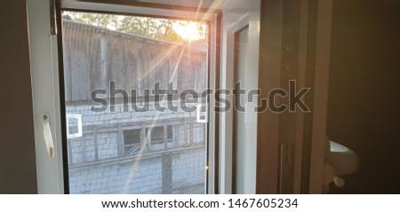 Plastic window. Window double-glazed windows. Light in the window.