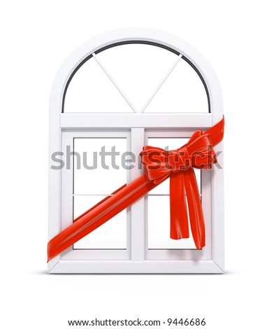 plastic window with red ribbon as a gift 3d illustration over white background