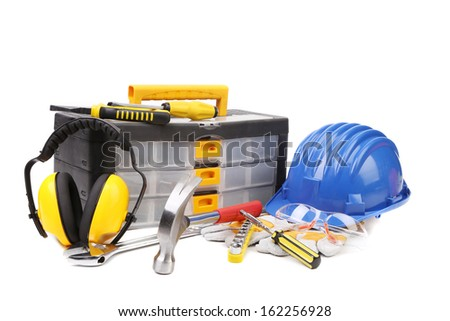 Plastic workbox with assorted tools. Isolated on a white background.