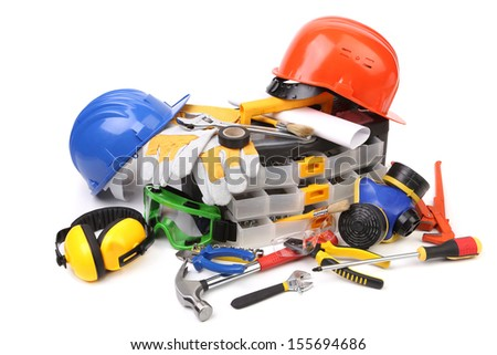 Plastic workbox with assorted tools. Isolated on white background.