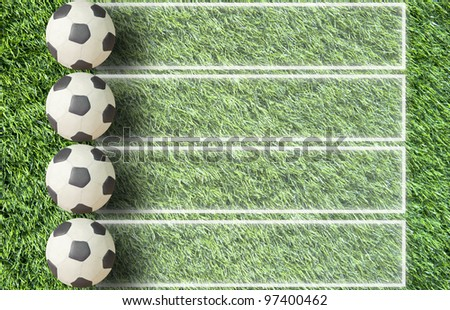 Plasticine Football on grass and  paper background