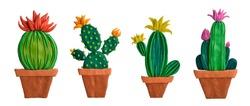 Plasticine. Hand modeling. Cactus in a pot.