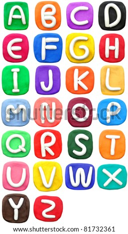 plasticine letter a-z - stock photo