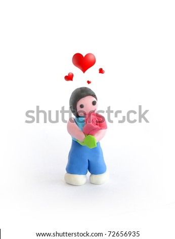 plasticine man feel  in love with big rose
