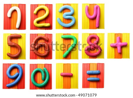 Plasticine numbers isolated over the white background