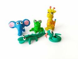 plasticine of animals wild of frog,elephant,giraffe,snake  and crocodile isolated on white background.