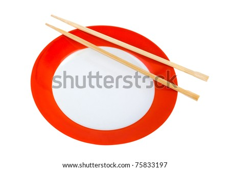 Plate and chopsticks isolated on white background