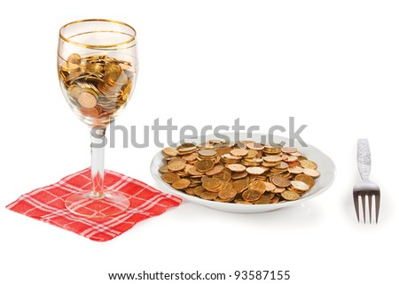 Plate and glass with the money on a white background