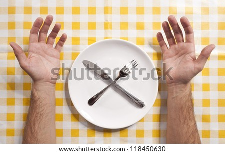 Plate and silverware on the table