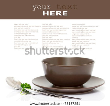 Plate, bowl, spoon and fork with parsley isolated on white (with empty space)