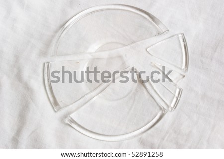 Plate broken to fragments on white background
