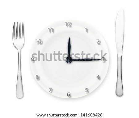 Plate - clock with fork and knife isolated on white background.