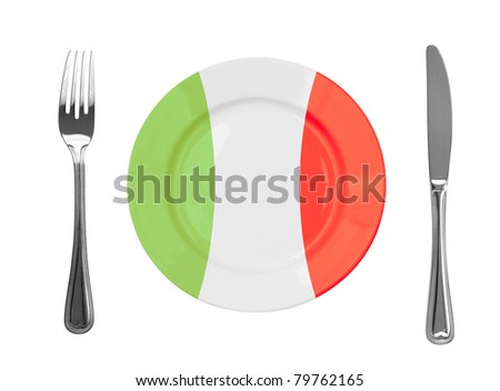Plate colored in Italian national colors
