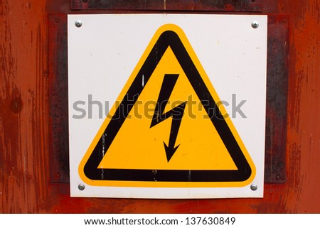plate dangerous voltage - stock photo