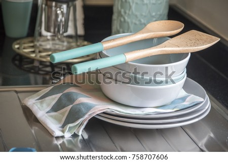 Plate dish and dish towel in kitchen  #758707606