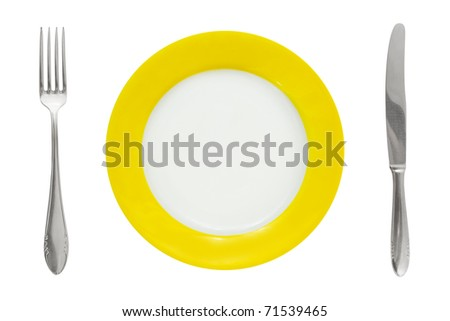 Plate, fork, and knife isolated on white background