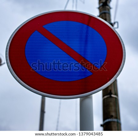 Plate from forbidden parking at this location in Japan.road, illustration, symbol, sign, transportation, traffic,  design, vector, street, transport, safety, warning, highway. #1379043485