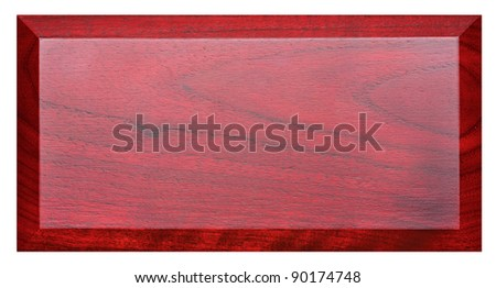 Plate from mahogany isolated on white background
