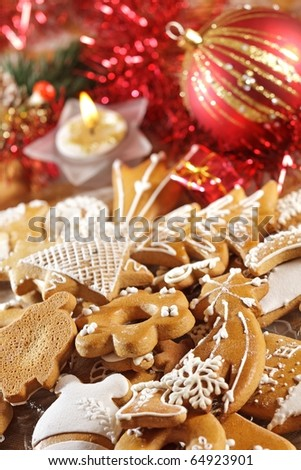 Plate full of Christmas gingerbread - sweet food
