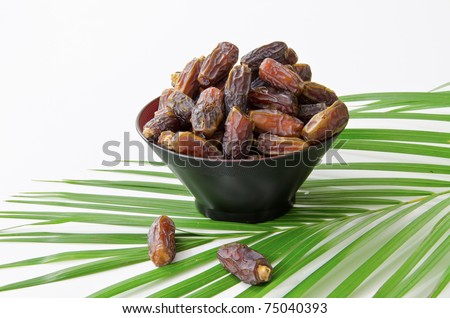 Plate full of natural date fruits isolated on white background