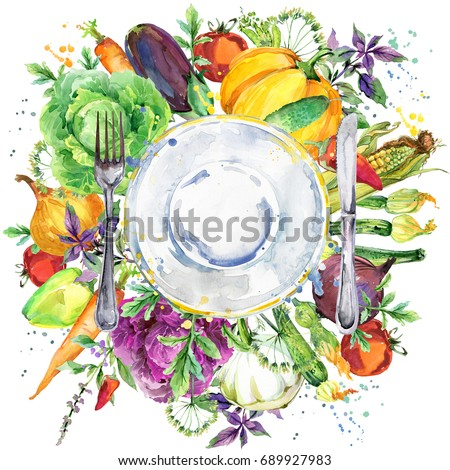 plate of a knife and fork with a background of fresh vegetables and spices. raw foods watercolor illustration for menu, restaurant, bistro, bar, recipe.