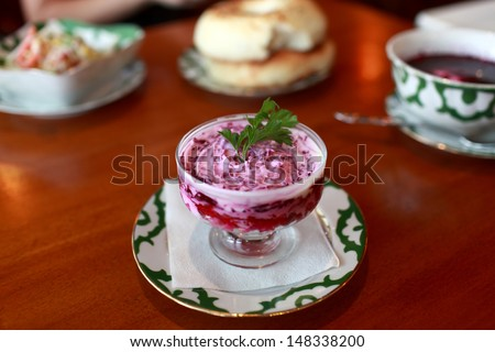 Plate of beetroot salad in a russian restaurant