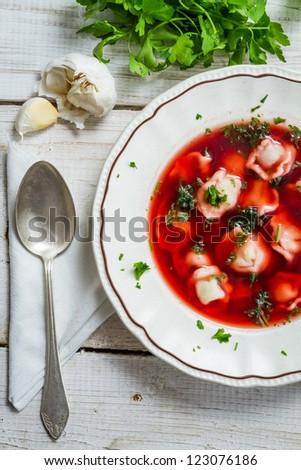 Plate of borscht with dumplings - stock photo