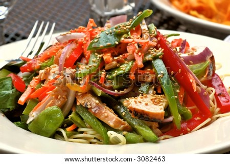Plate of Chinese chicken salad served at an outdoor restaurant