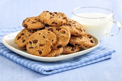 Plate of chocolate chip cookies with milk