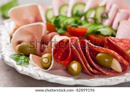 Plate of cold cuts with garlic stuffed olives