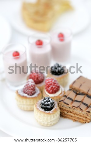 Plate of delicious desserts