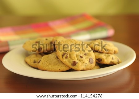 Plate of delicious homemade chocolate chip cookies.