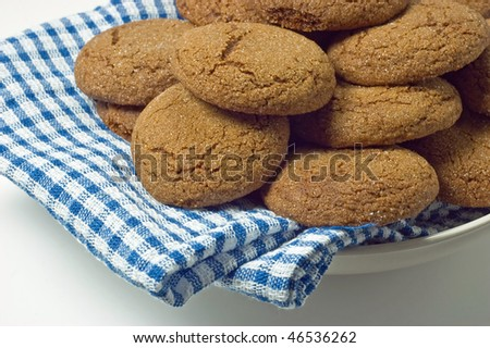 Plate of fresh baked gingersnap cookies with shallow depth of field, focus on front cookies