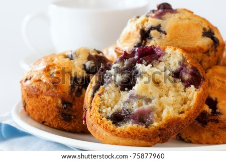 Plate of fresh blueberry muffins.  Soft focus.