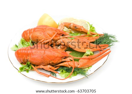 Plate of fresh crayfishes with lemon on white background