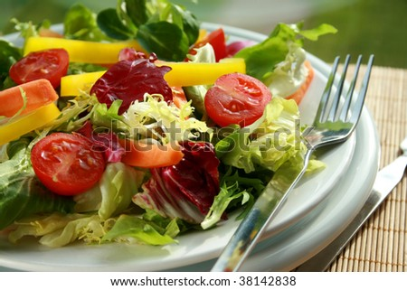Plate of fresh salad with a fork